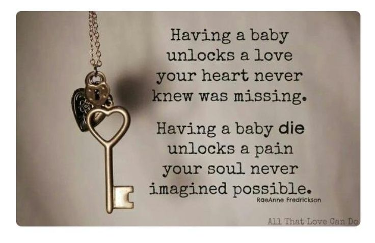 """""""Having a baby unlocks a love your heart never knew was missing.  Having a baby die unlocks a pain your soul never imagined possible.""""  RaeAnn Frederickson    All That Love Can Do"""