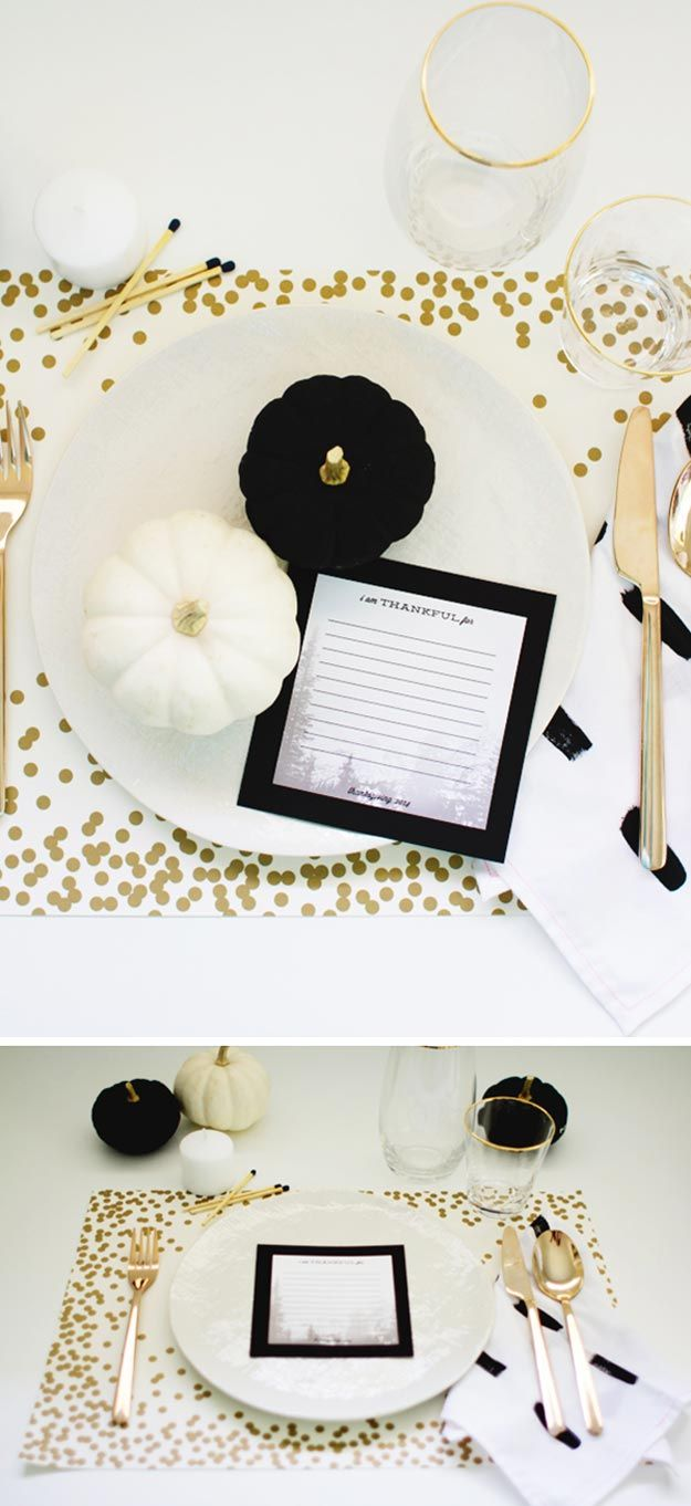 Black, White and Gold | 20 Thanksgiving Table Settings to WOW Your Guests - Thanksgiving Decorations by Pioneer Settler at http://pioneersettler.com/thanksgiving-table-settings-thanksgiving-decorations/