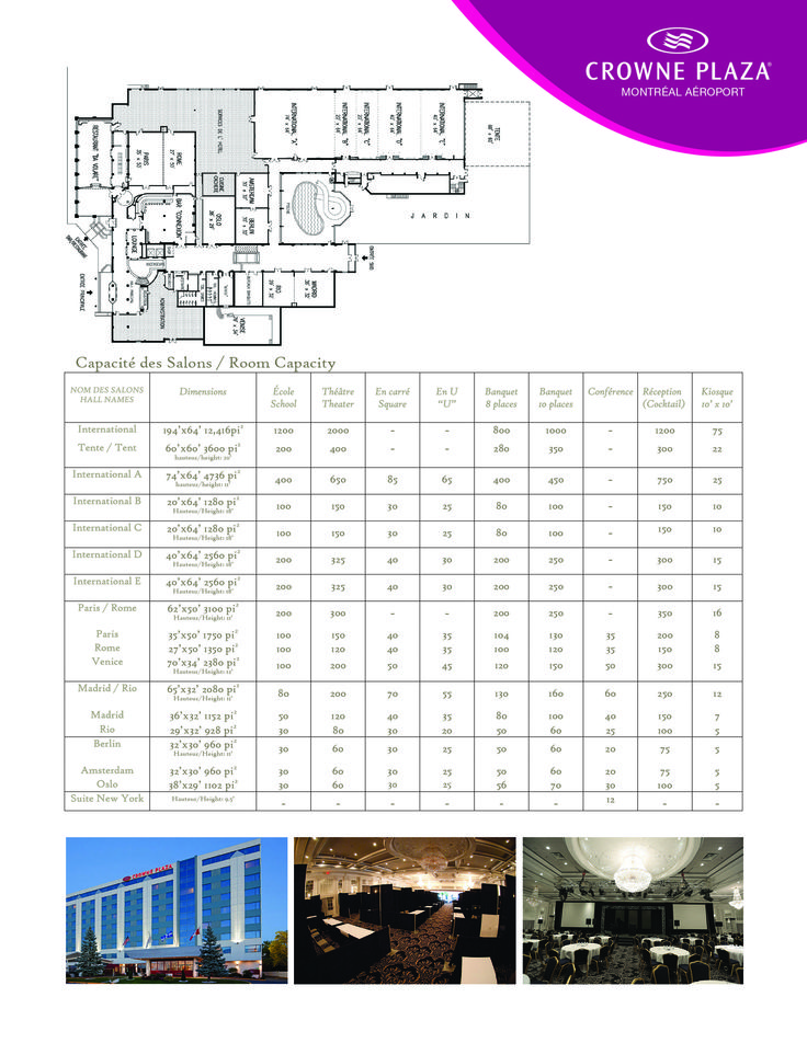 Plaza Volare Floor Plan along with dimensions of halls.  Located at the Crown Plaza Hotel at 6600 Cote-de-Liesse, St-Laurent, Quebec.  For further information for your next corporate or social event please contact us at 514-735-5150