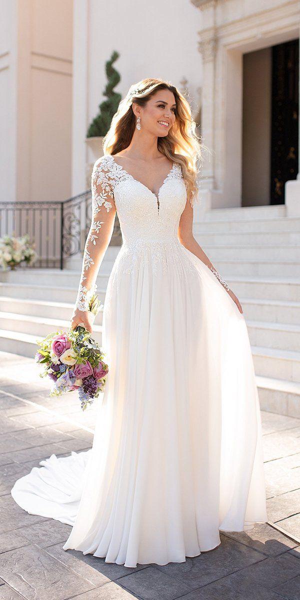 2021 Champagne Mermaid Wedding Dresses Long Sleeves Corset