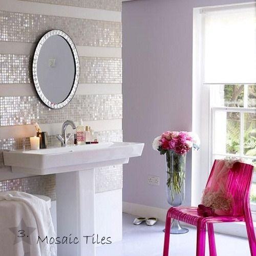 Sparkling mosaic tiles in bathroom.  Glamourous bling!