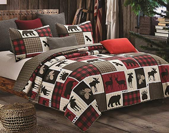 Virah Bella Lodge Life 3pc Full Queen Quilt Set Black Bear Paw Moose Cabin Red Buffalo Check Plaid King Quilt Sets Quilt Bedding Rustic Bedding