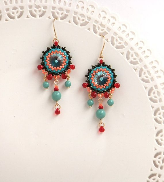 545 best beaded earrings images on pinterest beaded earrings turquoise chandelier earrings statement earring chandelier crystal earring coral turquoise earring mozeypictures Choice Image