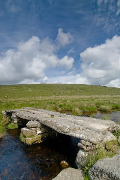 Dartmoor is famous for its ancient clapper bridges. A clapper bridge is basically a large flat stone laid across a stream. It's about as basic as a bridge can get! This one is at Teignhead.