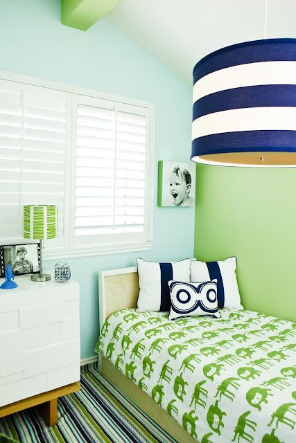 Blue and Green - love the color combo, but really LOVE that navy and white striped drum light, so cool.