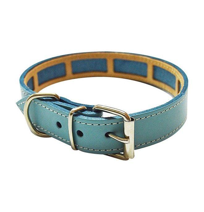 Collar Antiparasitario para perro Piel Vaquetilla Celeste