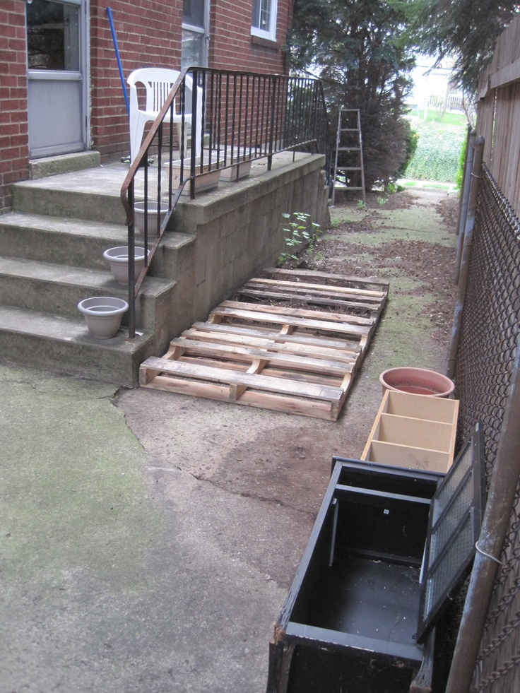 "Back Alley Garden. Two flat pallets and furniture flower beds. This is a ""before"" photo. Use your imagination. I'm creating a little sanctuary for myself."