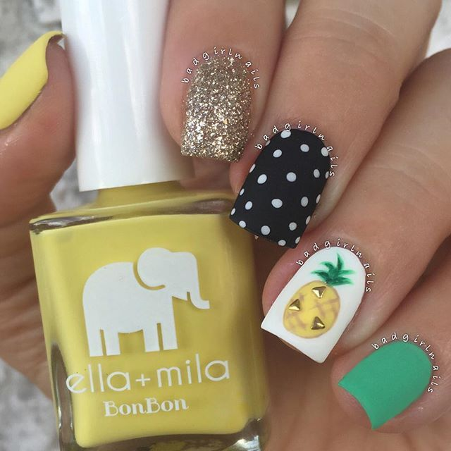 """Matte mix & match (as per usual) The studded pineapple and polka dot nail was inspired by @nailartbyjen✨ I used @ellamilapolish """"Limoncello"""", """"Samba Beats"""", and """"Matte-ly In Love"""" matte topcoat Tutorial coming soon"""