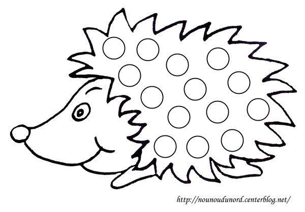 Coloriage à gommettes le hérisson dessiné par nounoudunord.