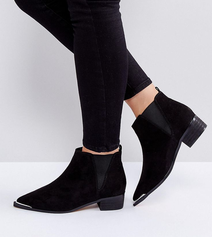 ASOS ADMISSION Wide Fit Pointed Ankle Boots - Black