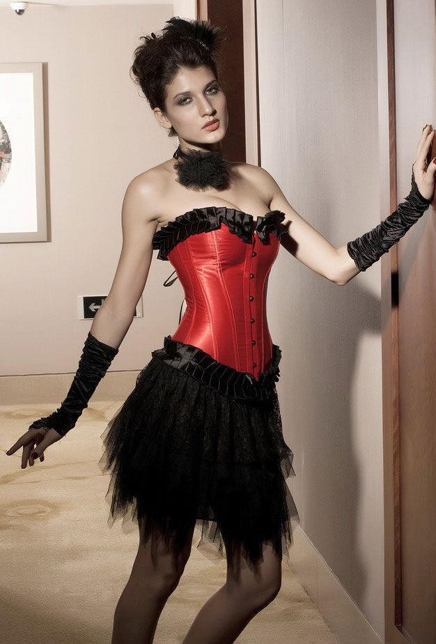 Black-red Ruffled Saloon Overbust Corset