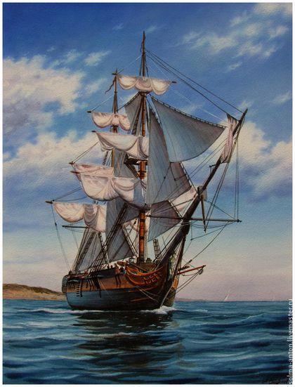 """Акварель """"За мечтой"""" - голубой,паруса,парусник,мечта,корабль,море,морская тематика"""