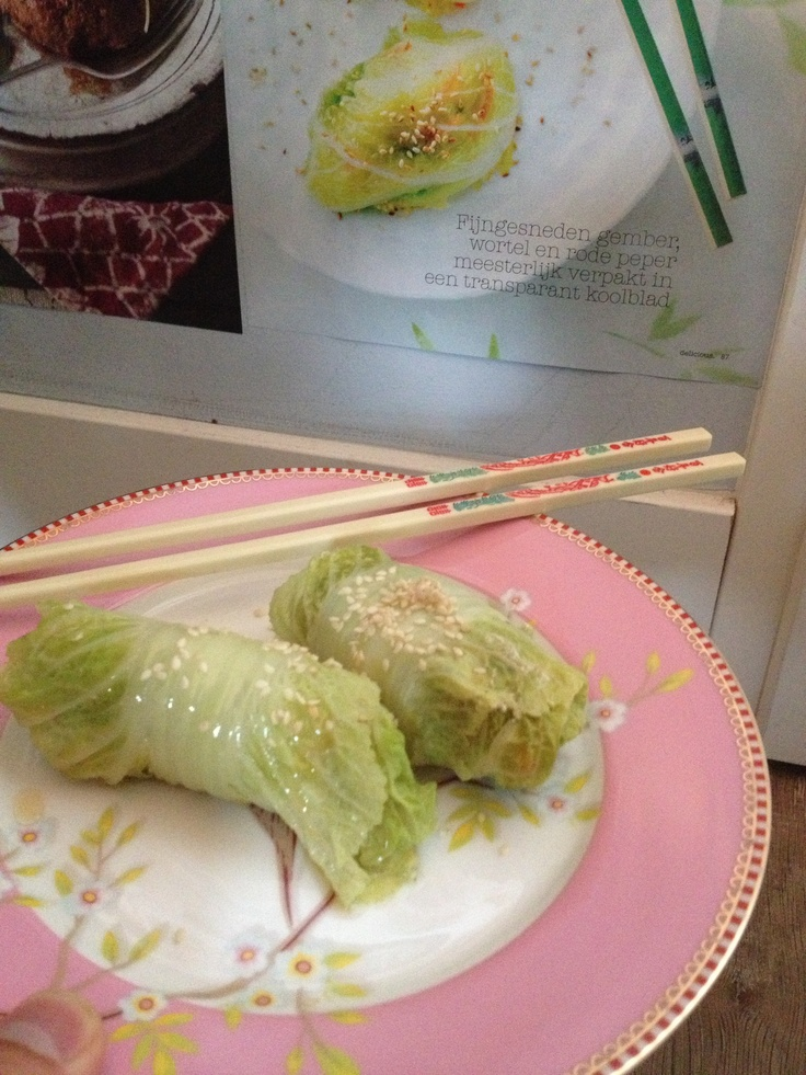 Steamed chinese style stuffed cabbage leaves. Cod, shrimps, garlic, lime, ginger, hot pepper and sesame oil make a perfect spicey filling for the somewhat bitter leaves.