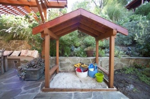 Outdoor spaces designed for the kiddos. Sandbox and chalkboard fence are my favorites.