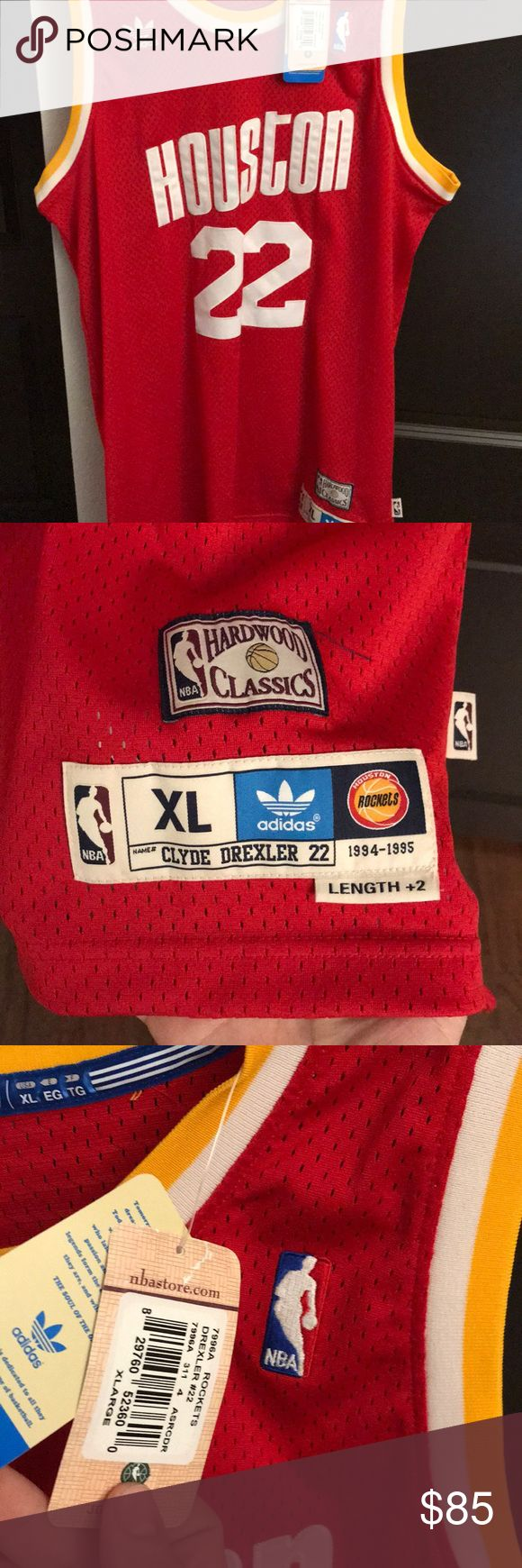 Men's XL Clyde Drexler jersey. Retro and awesome Hardwood classic Adidas jersey from the legend Clyde Drexler. Never been worn with tags still on. Authentic and great looking jersey adidas Shirts Tank Tops