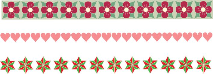Free Christmas borders clipart set of 3 with flowers, hearts and stars.