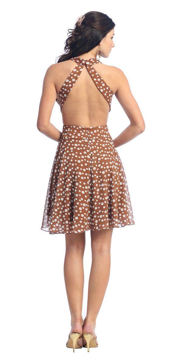 CLEARANCE - Light Brown Casual Polka Dot Dress Halter Short Dress Open Back