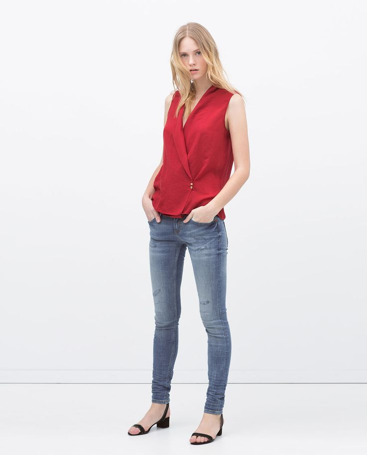 Image 1 of RED DETAIL SLIM JEANS from Zara