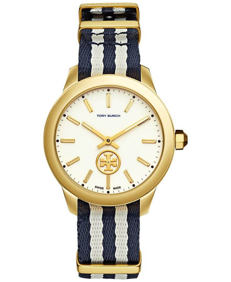 Tory Burch Women's Swiss Collins Navy and White Fabric Strap Watch 38mm TB1209