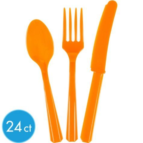 Orange Cutlery Set 24ct - Celebrate Any Age - Milestone Birthday - Birthday Party Supplies - Categories - Party City