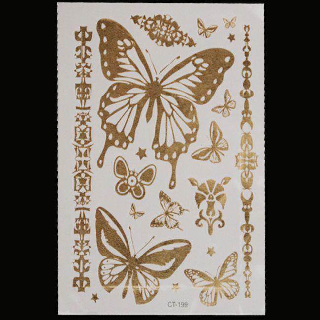 Золото татуировки эротические товары металл ожерелье браслеты татуировки металлический временные татуировки женщины флэш поддельные золото серебро татуировки taty