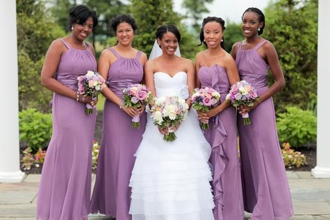 Purple Bridesmaids Gowns | Raiza Vega Photography | TheKnot.com