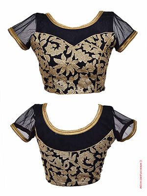 RENT : Black Net Ready to Wear Blouse.  Splendid design that will give your designer saree a splendid look. This blouse is decorated with beautiful gold embroidery design with gold lace border on the sleeves. The blouse comes in four sizes 34,36,38,40 the length of the blouse is 15 inches from the shoulder with a sleeve length of 5 inches. Flaunt your beauty with this princess cut blouse that has hanging string at the back with hanging tassels.