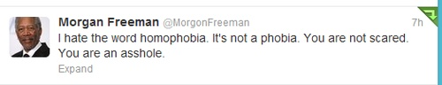 """""""I hate the word homophobia. It's not a phobia. You are not scared. You are an asshole."""" Morgan Freeman, you just gave me another reason to love you!"""