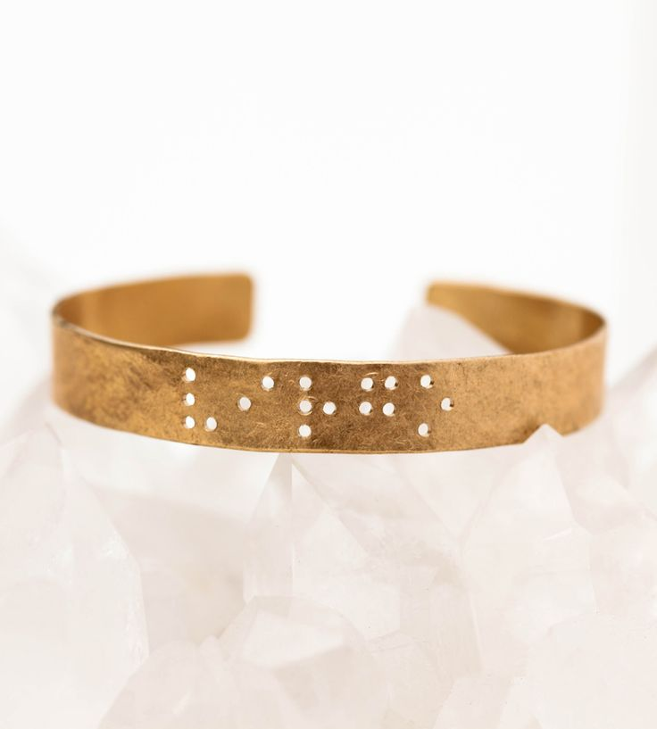 Zodiac Braille Cuff Bracelet by Leigh Luna on Scoutmob Shoppe. A lovely bangle with your zodiac sign in braille. Delightful.