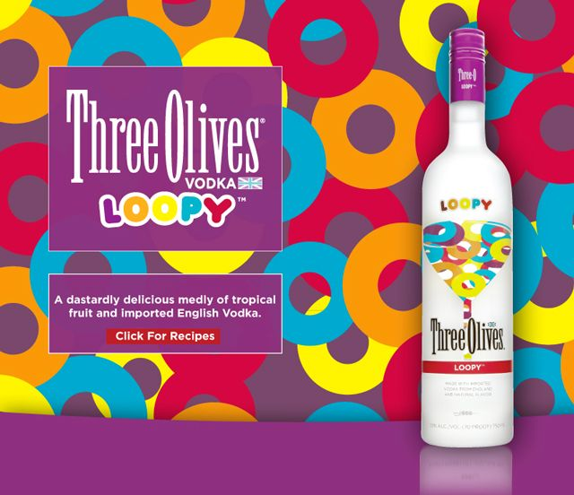 """""""A dastardly delicious medly of tropical fruit and imported English Vodka.""""    Loopy is a novelty vodka made by Three Olives that is inspired by Froot Loops cereal (it's said to taste like the milk after eating a bowl of it). Several cocktail recipes using Loopy vodka are available at the Three Olives site and retailer Table & Vine gave it a quick video presentation earlier this year (video)."""