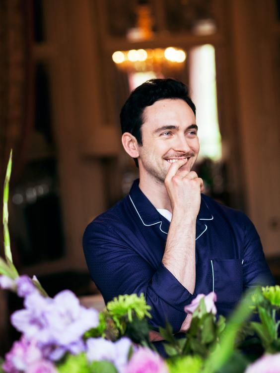 George Blagden for ES Magazine in our  Navy Lombard Pyjama shirt. The new star of TV hit sereies Versailles shows how this piece can be transitioned from inside to outside | Derek Rose