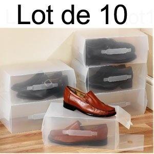Lot de 10 - Boîte de Rangement Chaussures Transparentes