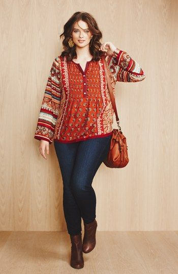 Plus Size Lucky Brand Mixed Print Top and Jeans from Nordstrom