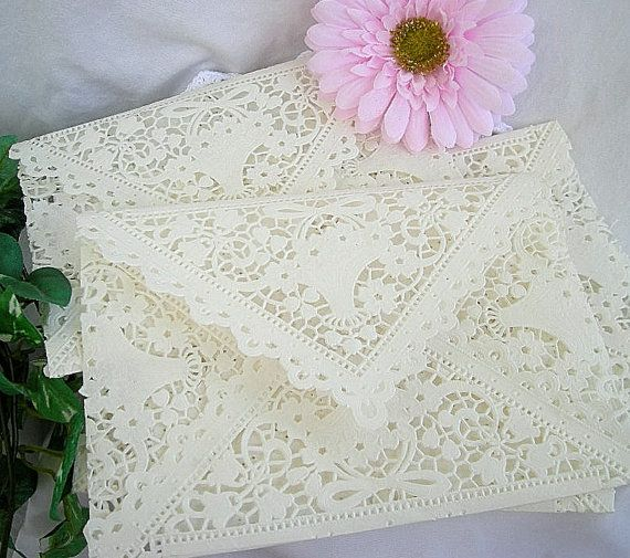 Doily Lace Envelopes, Paper, Vintage Inspired,  IVORY Shabby Chic Wedding Invitaion Liners, 5 x 7 A7 Size 1 Piece Set via Etsy
