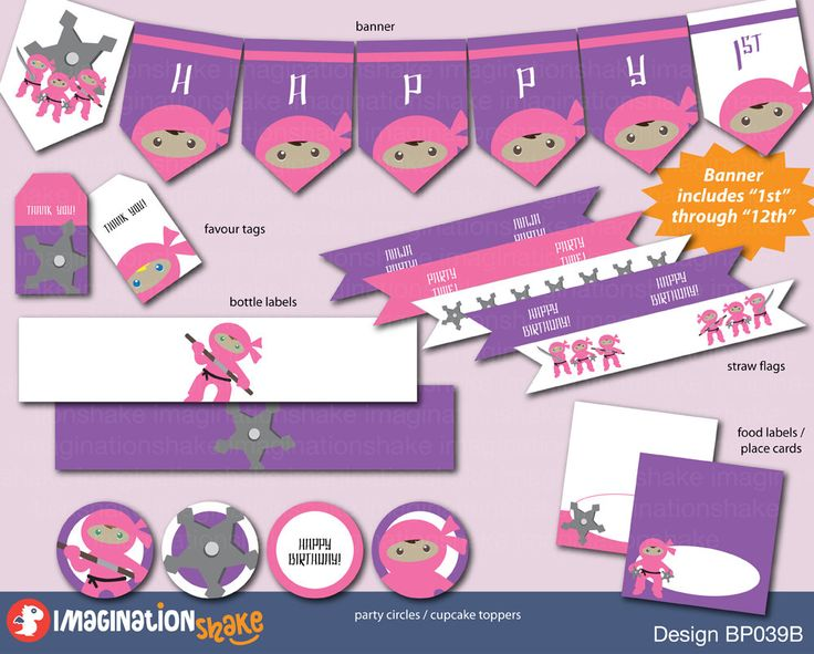 Pink and Purple Ninja Birthday Party Package Small Set PRINTABLE / Pink & Purple Birthday Printouts / Ninjas Girls Birthday / DIY Printables - pinned by pin4etsy.com