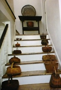 I love this idea but if I put them on my stairs like this, certain members of my family may fall and break their necks...: Basket S, Prim Baskets, Baskets Beautiful, Primitive Style, Early Baskets, Primitive Collection, Primitive Baskets