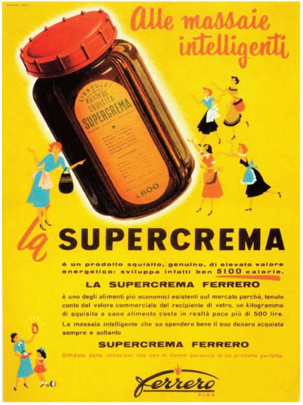 Nutella was invented in a small workshop in the hills of Asti in 1945.  Here, a craftsman from Turin, Pietro Ferrero, combined chocolate (which was still being rationed) with hazelnut paste.  Soon his original creation, called Giandujot, became a spreadable cream called Supercrema. In 1964 as the company expanded beyond Italy the name was changed again to the one we recognize today, Nutella