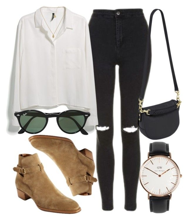 """""""Untitled #6892"""" by laurenmboot ❤ liked on Polyvore featuring Topshop, MANGO, Ray-Ban, Yves Saint Laurent, Mulberry and Daniel Wellington"""