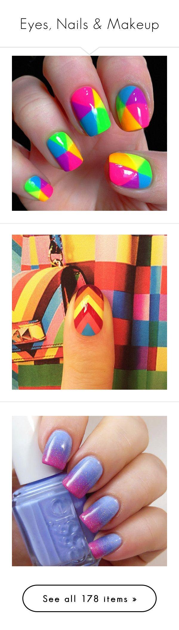 """Eyes, Nails & Makeup"" by notaliice-riley ❤ liked on Polyvore featuring beauty products, nail care, nail polish, nails, beauty, makeup, nail art, neon nail polish, fluorescent nail polish and shiny nail polish"