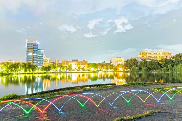 Lakeside light trails - I used my bike and LED's to create these beautiful light trails.