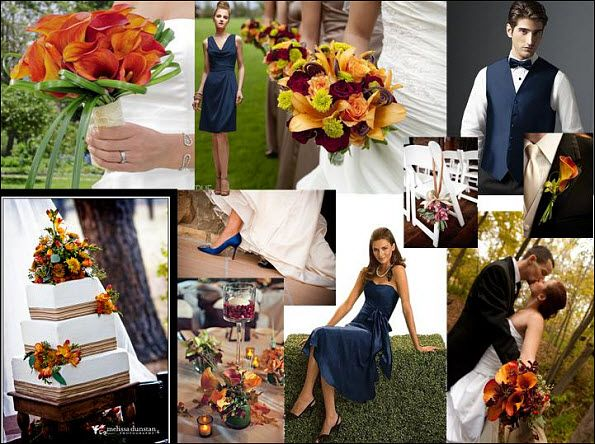 Redyellowbluewedding WEDDING STYLEBOARD MIDNIGHT BLUE RED - Burnt orange and green wedding colors