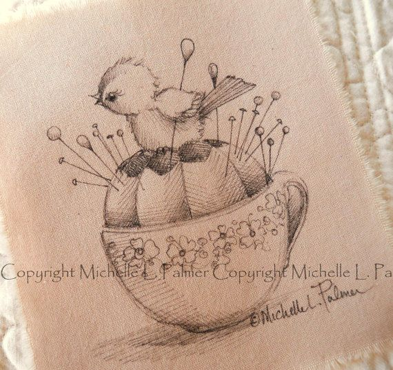 Original Pen Ink Fabric Illustration Quilt Label by MichellePalmer