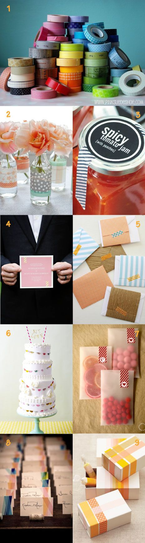 #washi tape inspiration for wedding and party decor - #diy #cutetape