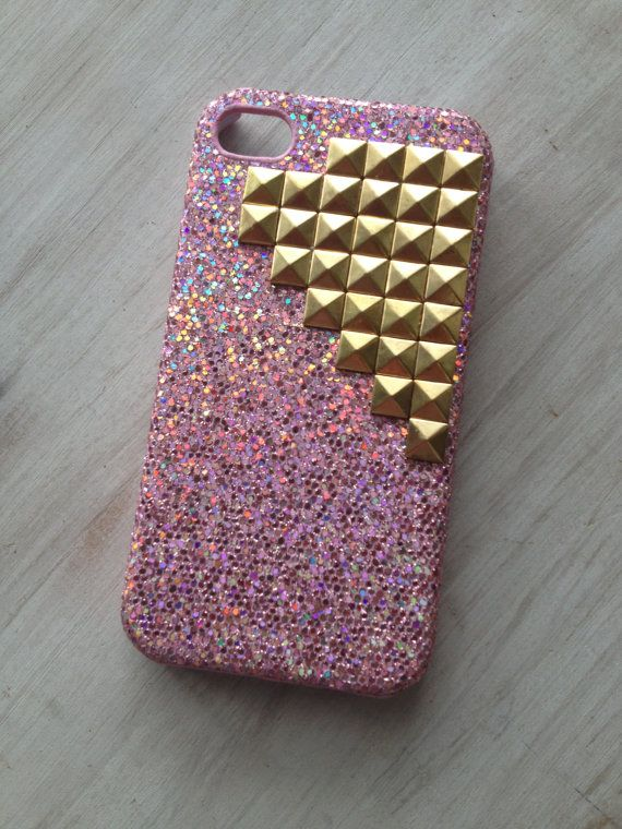 Ready to ship pink sparkle iphone 4 case with gold by MellaFina