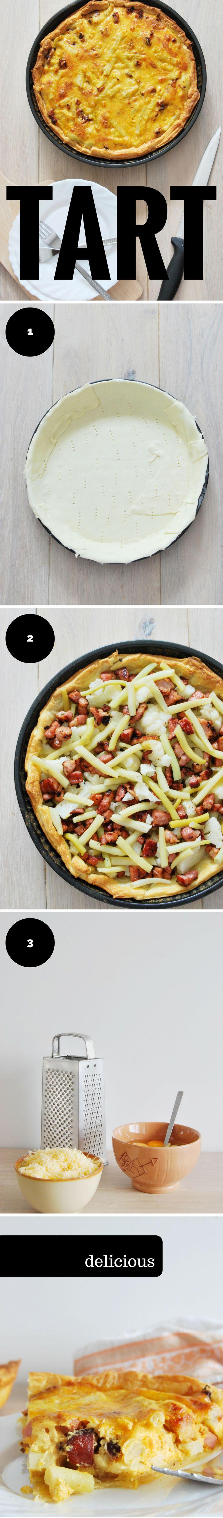 Tart with bacon, cauliflower and  yellow beans. (Tarta z bekonem, kalafiorem i fasolką szparagową)