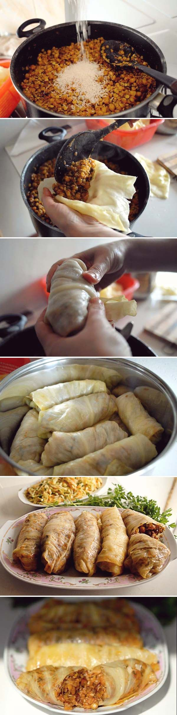 Rolled Cabbage Stuffed with Legumes + Rice | PASUTS TOLMA; photo Nazik Armenakyan #recipe #armenianfood #vegan