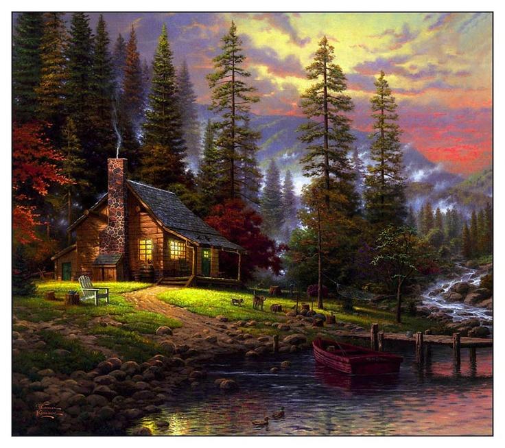 202 best art thomas kincade images on pinterest art for Log cabin montagne blu