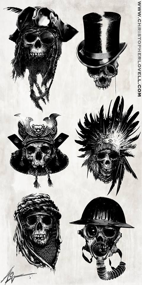 Skulls by Christopher Lovell/ I like the top right and bottom left