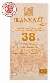 Blanxart 150g. Ciocolata organica cu lapte, 38% cacao cu alune. BIO