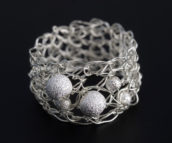 Sterling silver crochet ring by jewellery designer Tytti Lindström